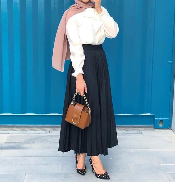 Navy Blue Pleated Skirt White Shirt Black Heeled Shoes