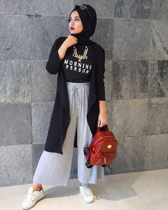 Hijab combinations gray loose trousers black blouse black long cardigan white sneakers