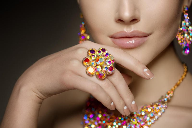 Jewelry models in rainbow colors