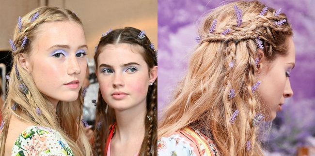 Hairstyles decorated with lavender twigs